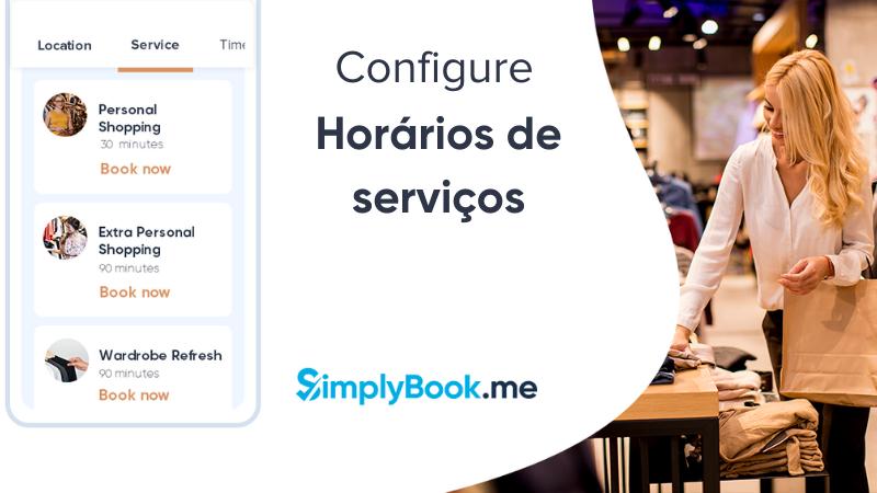 Configure horários de serviços SimplyBook.me